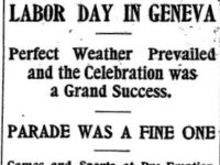 Headlines from a newspaper article about Geneva's first labor dayper Article Labor Day In Geneva