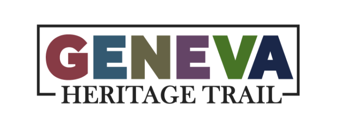 Each letter of Geneva has a different color with Heritage Trail in black